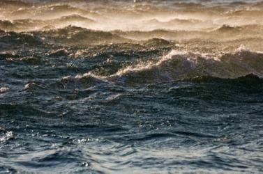 A very choppy sea.