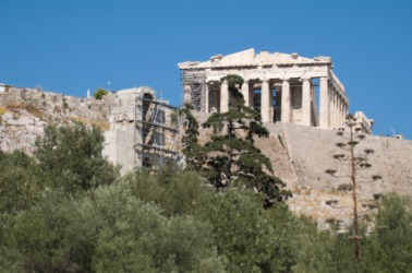 The Parthenon atop the acropolis in Athens.