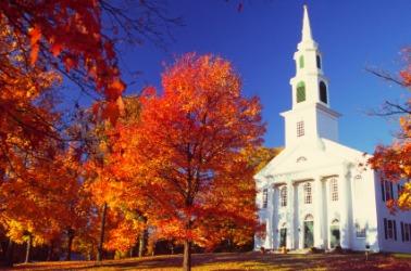 A small village church in autumn.