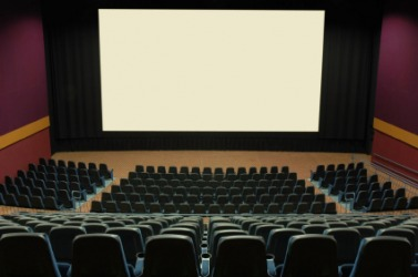 The interior of a modern cinema.