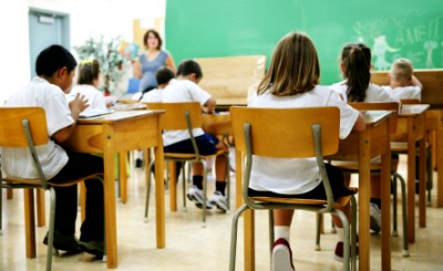 Students seated in a classroom.