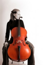 A cellist with her cello.