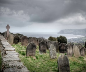An old cemetery overlooking the sea.