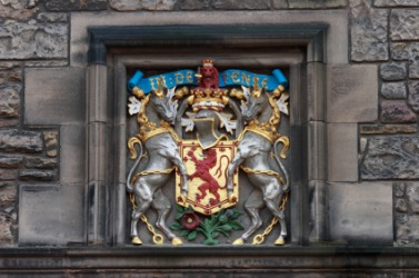 The Scottish coat of arms displayed on the wall of Edinburgh castle.