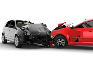 Two automobiles after a collision.