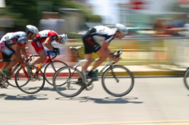 Cyclist competing in a race.