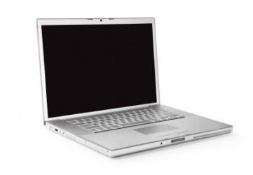 A silver laptop computer.
