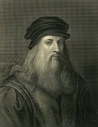 An engraving of Leonardo da Vinci.