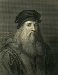 An engraving of Leonardo da Vinci.