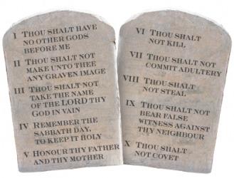 A depiction of the Ten Commandments.