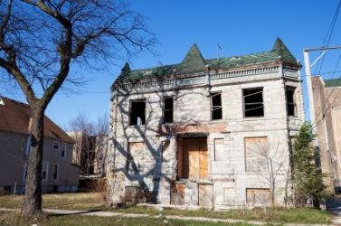 A derelict building.