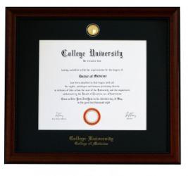 A framed diploma.
