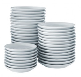 Stacks of dishes.