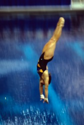 A swimmer diving into the water.