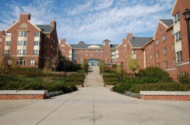 A dormitory building on a college campus.