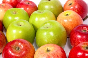 A group of different types of apples.