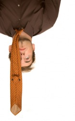 A man hanging upside down.