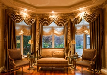 A living room with elegant drapes