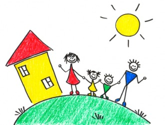 A child's drawing of her home and family.