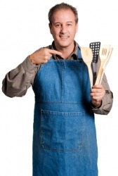 A man wearing an apron.