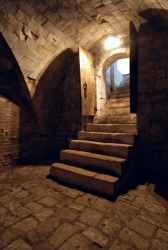Stairs in an ancient dungeon.