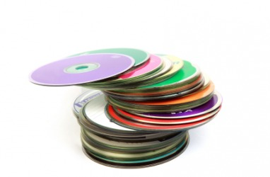 A stack of colorful DVD's.