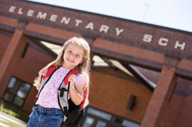 A child going to elementary school.