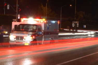 An ambulance responding to an emergency situation.