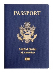 A U.S. passport emblazoned with a coat of arms.