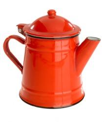 An enamel teapot.