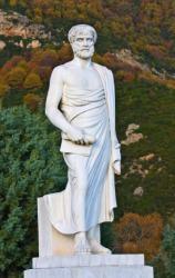 A statue of Aristotle.