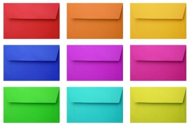 Bright colored envelopes.