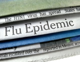 Newspaper headlines report a flu epidemic.