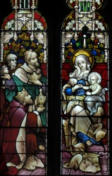 An Epiphany window; a depiction of the visit of the Magi.