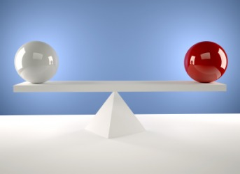 Two spheres of equal weight.