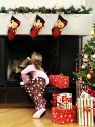 A child waits for Santa Claus on Christmas Eve.