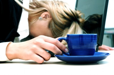 A woman deals with exhaustion.