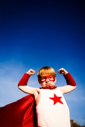 A child fantasizes about being a superhero.