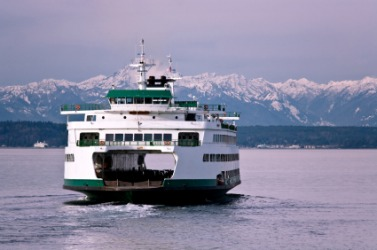 A ferry leaves Seattle.