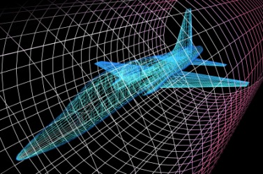 A simulation of an aircraft in wind tunnel used in the study of aerodynamics.