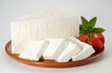A plate of feta cheese.
