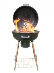 A fiery grill.