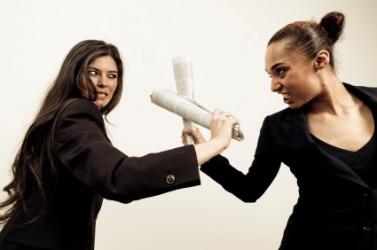 Two women having a fight.