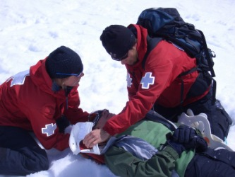 Two people administering first aid.