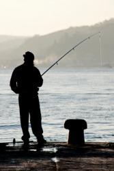 A man fishing.