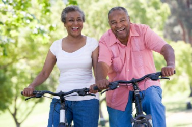 A couple improves their level of fitness with bike riding.
