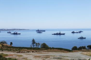 A fleet of naval warships.