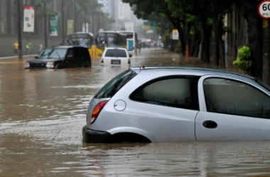 A car submerged in the flood.