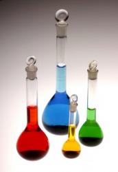 Three Florence flasks.