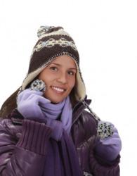 A woman wearing winter attire.
